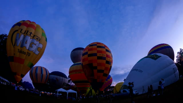 Colorful hot-air balloons flying video