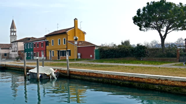 Colorful houses on the small island Mazzorbo, Italy. Venetian lagoon video
