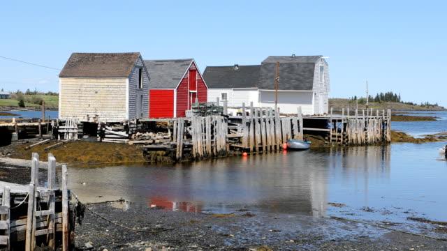 Colorful huts in coastal Nova Scotia