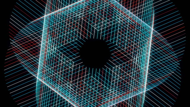 Colorful kaleidoscopic rotating pattern. Animation. Abstract blue and red narrow straight lines crossing and forming 3D spinning figure looking like flower, seamless loop
