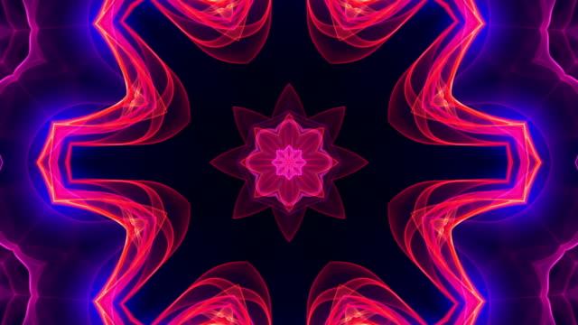 4k colorful kaleidoscopic video background. - узор калейдоскоп стоковые видео и кадры b-roll