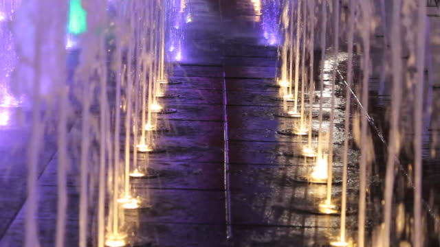 Colorful light of fountain at night video