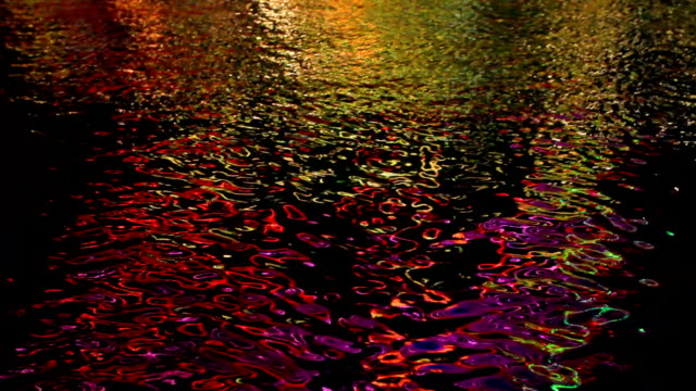 Colorful light reflections on water. video