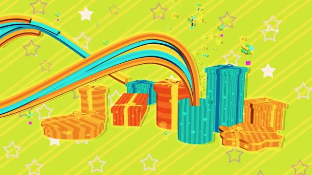 Líneas de colores vienen en cajas de regalo - vídeo