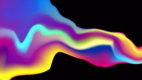 vídeos y material grabado en eventos de stock de animación de vídeo abstracto de onda holográfica líquida colorida - curva forma
