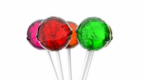 vídeos y material grabado en eventos de stock de colorido lollipops animación - dulces
