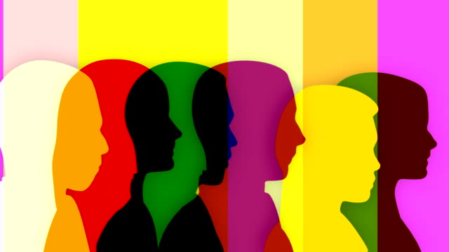 Colorful loopable silhouettes of people, 4 versions with different colors. Multicolored silhouettes of 3 businesswomen and 3 businessmen walking toward the same goal. following moving activity stock videos & royalty-free footage