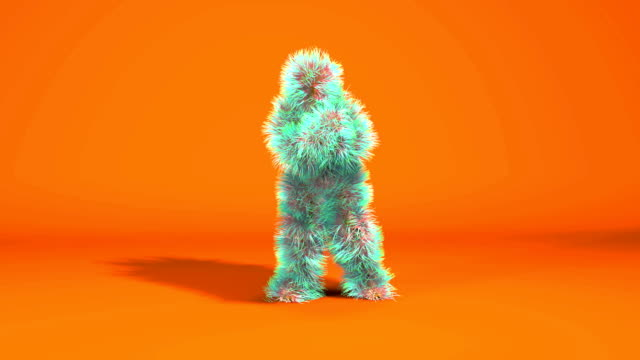 colorful monkey dancing gangnam style  against orange background - tridimensionale video stock e b–roll