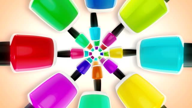 Colorful nail polishes bottles.
