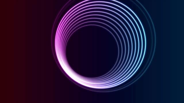 カラフルなネオン光るサークル抽象ビデオアニメーション - 連続文様点の映像素材/bロール