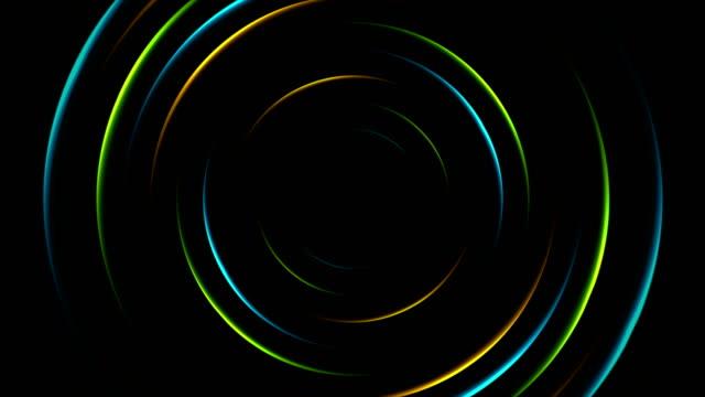 カラフルなネオン輝く円抽象的なビデオ アニメーション - 指輪点の映像素材/bロール