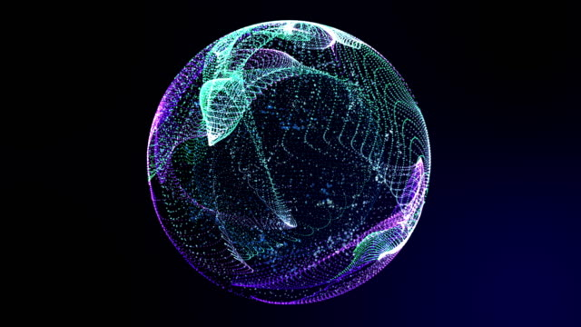 Colorful neon light globe world map tilt zoom view in cyber space with, 3D rendering virtual 5G digital world internet connecting, data transfer link for future connecting technology concept.