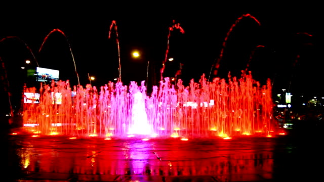 colorful night fountain - fountains stock videos & royalty-free footage