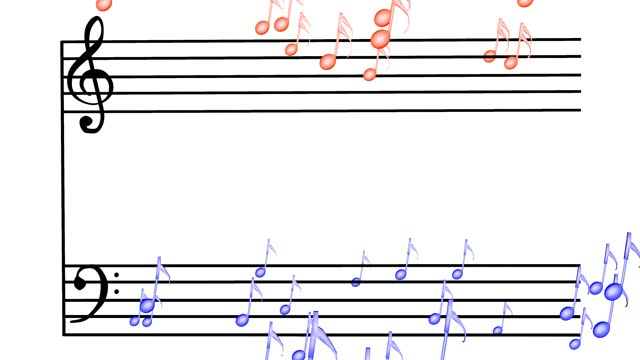 Colorful notes flowing from the score, 3D rendering