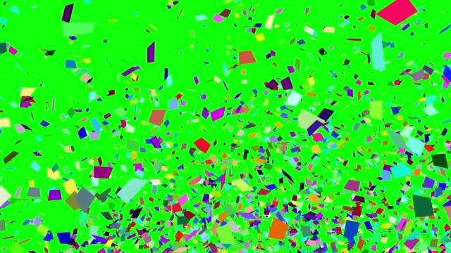 colorful of confetti explosion green screen video