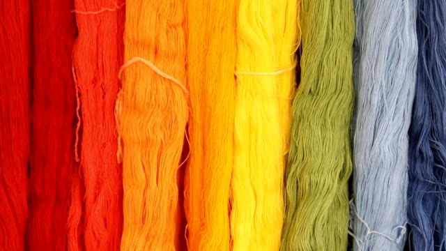 Colorful of silk threads video