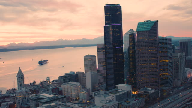Colorful Orange Skies Illuminate Glorious Seattle Bay Waterfront Downtown Towers Cargo Ships Amazing Landscape Colorful Orange Skies Illuminate Glorious Seattle Bay Waterfront Downtown Towers Cargo Ships Amazing Landscape seattle stock videos & royalty-free footage