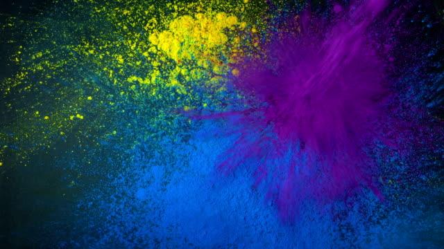 Colorful Paint Powder Splats Rapidly video