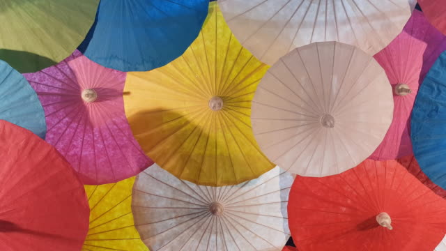 colorful paper hand craft umbrellas, handmade in Chiang Mai, Thailand.