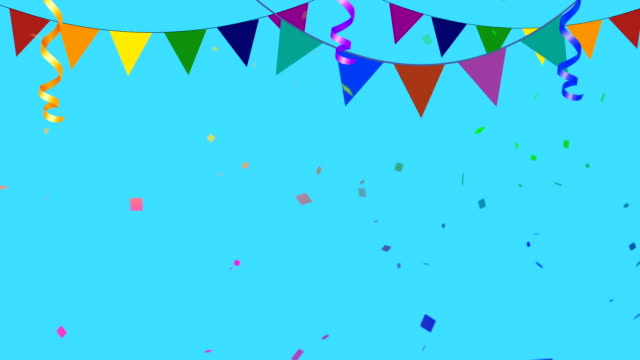 Colorful Party Elements With Confetti Going in and Out of Frame Colorful Party Elements With Confetti Going in and Out of Frame happy birthday stock videos & royalty-free footage