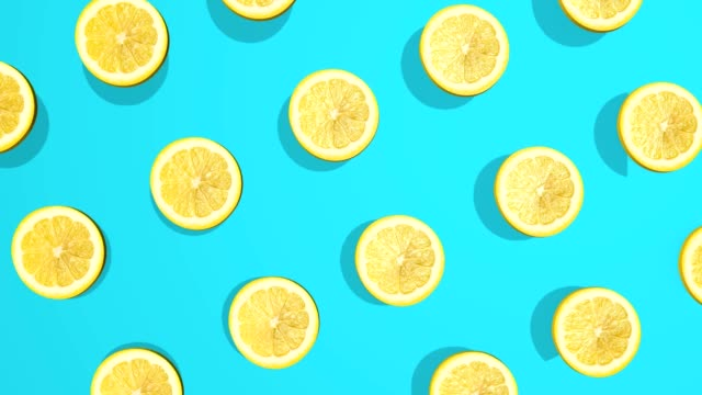 colorful pattern with citrus lemon fruits - 3d elements, 4k loopableless loop isolated, perfect for digital composition - лимон стоковые видео и кадры b-roll