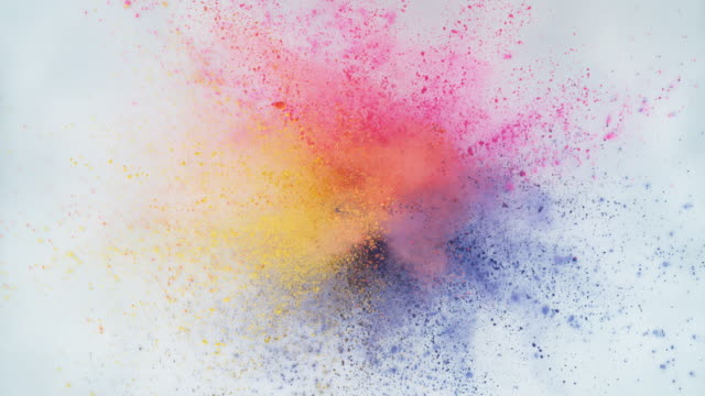 Colorful powder exploding in super slow motion.