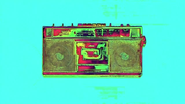 colorful radio cassette animation - radio video stock e b–roll
