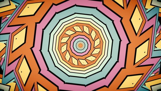 vídeos de stock e filmes b-roll de colorful rainbow kaleidoscope seamless mandala fractal ornament for yoga - mosaicos flores