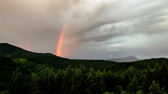 colorful rainbow over green forest time lapse - spektakularny krajobraz filmów i materiałów b-roll