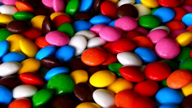 colorful, rainbow, rotating sweets, candy, sugared, lentilky video