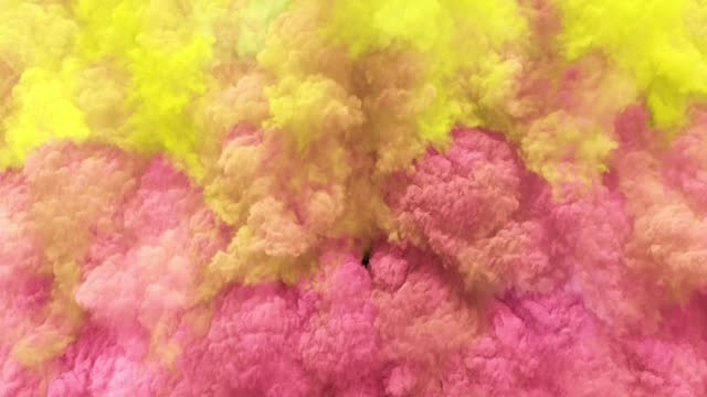 Video Colorful red/blue clouds, smoke effect flowing with turbulences and speed. Cloud collision isolated on black background. Colored abstract smoke explosion dynamic flow. 3D rendering