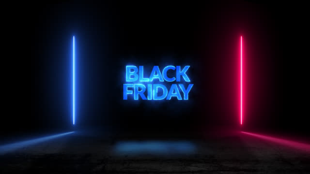 colorful retro black friday neon light animation motion graphic video - black friday стоковые видео и кадры b-roll