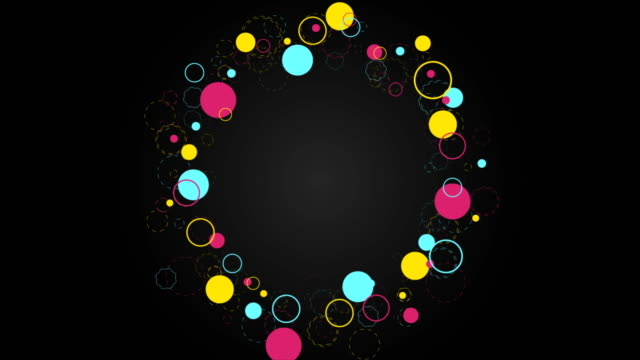 Colorful retro circles abstract hipsters video clip video