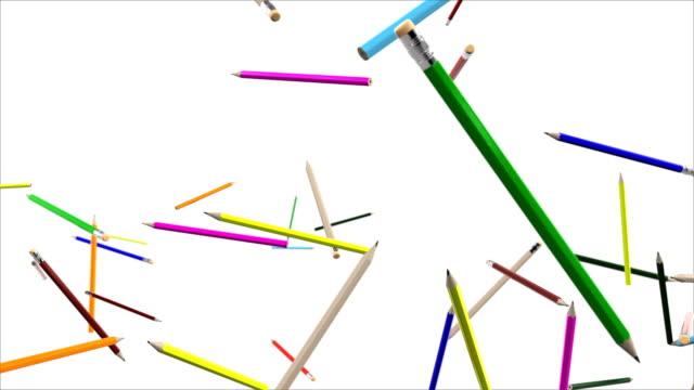 五顏六色的學校蠟筆在慢動作中飛行,反對白色 - back to school 個影片檔及 b 捲影像