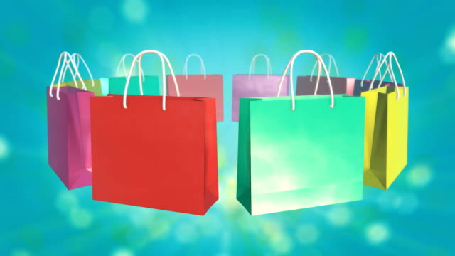 Colorful Shopping Bag on twinkle background video