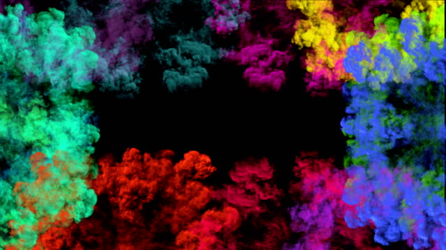 Colorful smoke explosions. Radial smoke blast of multiple colors. multi colored background stock videos & royalty-free footage