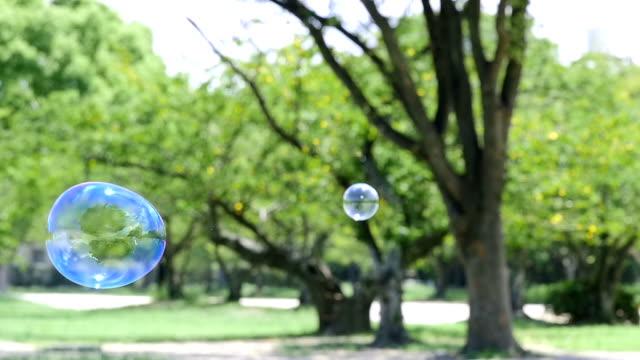 七彩的肥皂泡漂浮在綠色公園,慢動作 - 休閒器具 個影片檔及 b 捲影像