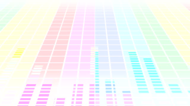 Colorful sound waves for party. Disco background. Abstract colorful wave pattern. Loop animation of music equalizer.