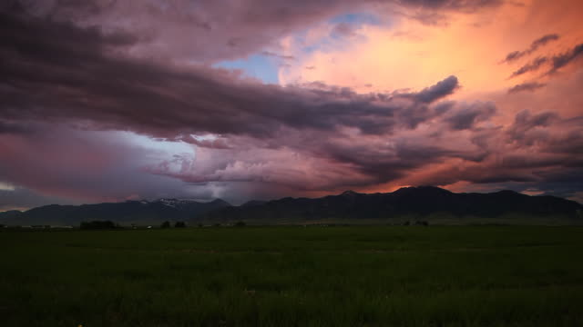 Colorful spring storm at sunset. HD video