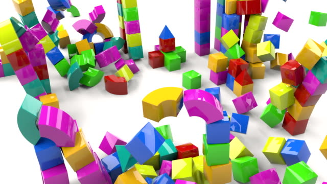 Colorful toy castle out blocks on white background. 3d illustration. castle tower. 4k Colorful toy castle out blocks on white background. 3d illustration. castle tower. 4k housing logo stock videos & royalty-free footage