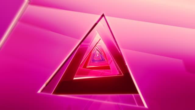 Colorful triangle tunnel ride video