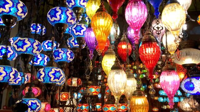 colorful turkish lanterns in grand bazaar, istanbul - grand bazaar video stock e b–roll