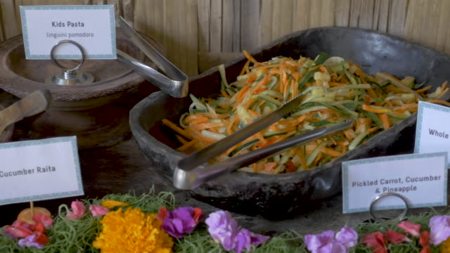 Colorful vegan or vegetarian buffet with a variety of healthy food choices