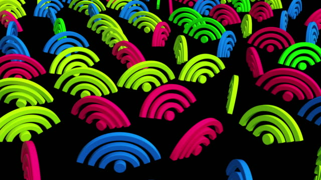 Colorful WIFI icons in moving rows - vídeo