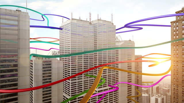 Colorful Wire Shapes Connecting Skyscrapers video