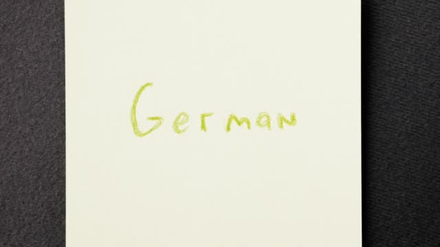 Colorful written word stop motion. Speaking German course concept. video