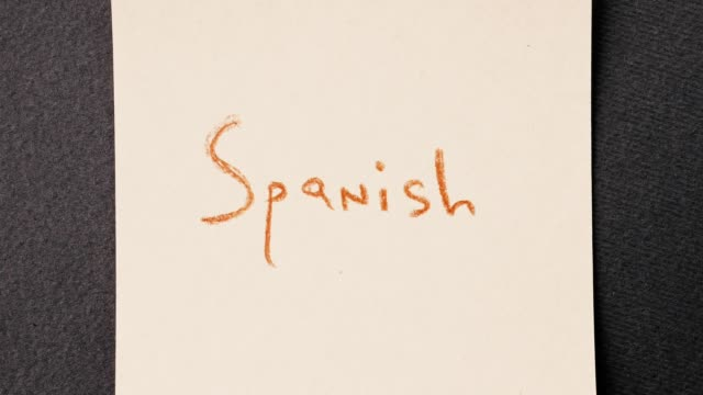 Colorful written word stop motion. Speaking Spanish course concept. video