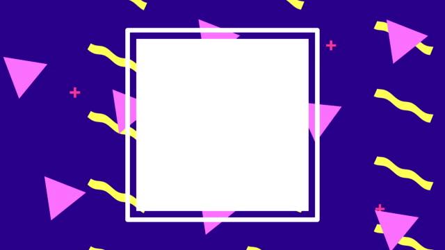 vídeos y material grabado en eventos de stock de líneas de colores y figuras geométricas animación con marco cuadrado - eventos de etiqueta
