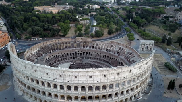 Colosseum Aerial View Of Center Of Rome Early Morning Late Afternoon video