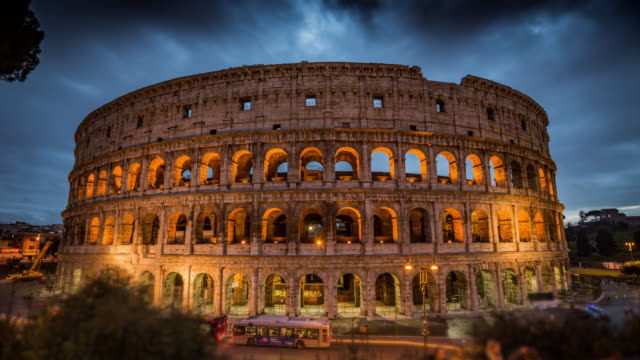 Colosseum at dusk in Rome, Italy - Time Lapse video